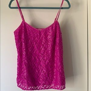 Lilly Pulitzer Pink Silver Lace Tank Top Small
